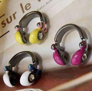 Vintage Purple Cute Earphone Headset Retro Style valentines Ring r386