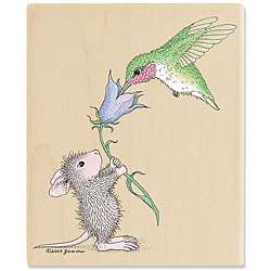 House Mouse Helping Hand Wood mounted Rubber Stamp