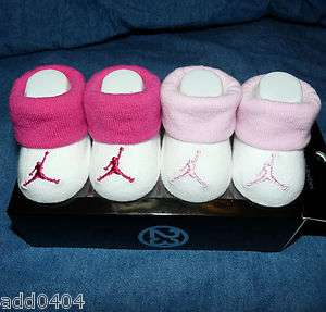 PAIRS NIKE AIR JORDAN PINK BABY INFANT GIRLS BOOTIES SOCKS 0 6 M