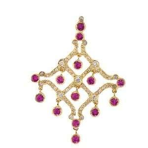 18k Yellow Gold 1.84 Ct Pink Sapphire & 0.94 Ct Diamond