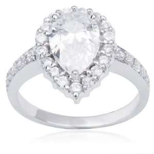 Sterling Silver and Pear Cut Cubic Zirconia Wedded Bliss Ring Jewelry