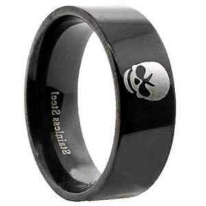 Plated Stainless Steel Ring with Four Skulls around the Band Jewelry