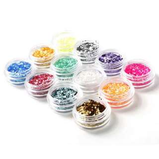 12 Colors Nail Art Tiny Hexagon Glitter Decoration B15