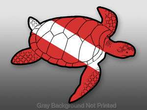 Sea Turtle Shaped Scuba Diving Flag Sticker  dive decal