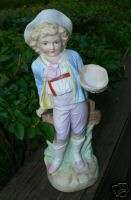 Antique German Bisque Porcelain Victorian Boy Figure Figurine Statue