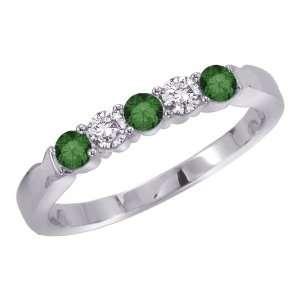 White Gold 1/2 ct. Alternating Green and White Diamond Ring Jewelry
