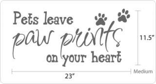 pets leave paw prints on your heart vinyl wall decal available sizes