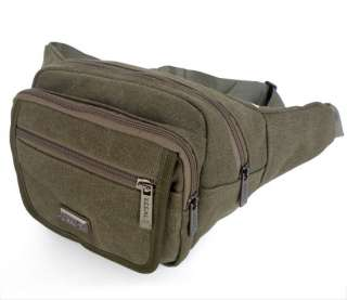 Washable Canvas Mens Waist Bag Fanny Pack Purse Army Green Color