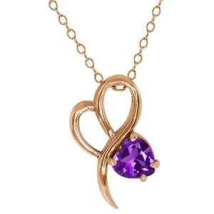 0.74 Ct Heart Shape Purple Amethyst 14k Rose Gold Pendant