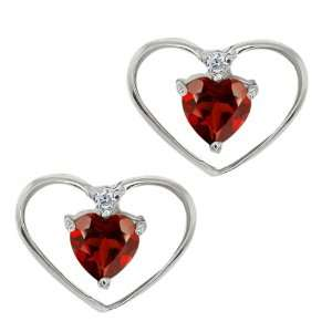 0.67 Ct Heart Shape Red Garnet and White Diamond 18k White