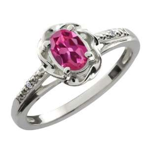 0.51 Ct Oval Pink Tourmaline White Diamond Sterling Silver