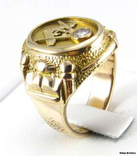 Diamond MASONIC Master Mason RING   14k Yellow Gold Hefty 20g Symbols