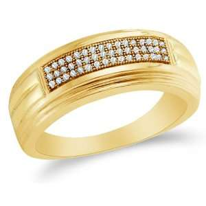 MENS Wedding Band Ring   w/ Micro Pave Set Round Diamonds   (.15 cttw