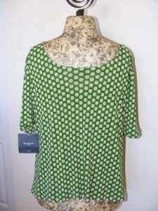 Liz Claiborne Mesh Lined Hexagon Scoop Neck Top Shirt Plus Size