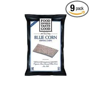 FoodShouldTasteGood Blue Corn Tortilla Chips, 16 Ounce Bags (Pack of 9