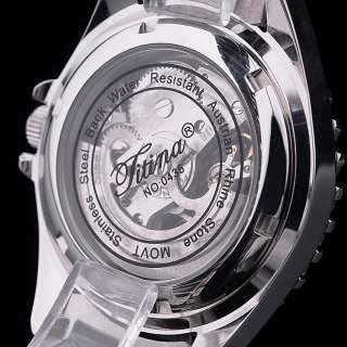 TITINA White Ceramic Auto Mechanical Men Watch+Gift Box