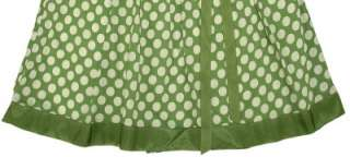 NEW $98 White Chocolate Polka Dot Print Green Cotton Skirt Extra Large