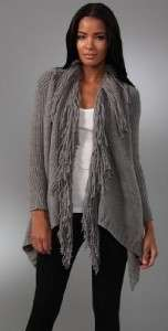 Haute Hippie Loopy Fringe Knit Shawl Collar Wool Cardigan Sweater Grey