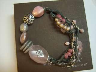 B2181 Silpada Sterling Silver Pink Soapstone Bracelet