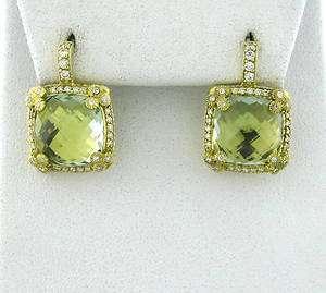 JUDITH RIPKA 18K GOLD GREEN QUARTZ DIAMOND EARRINGS $3,600.00