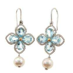 Leigh Sterling Silver Pearl and Blue Topaz Earrings