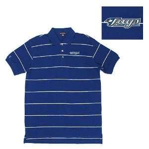 Toronto Blue Jays MLB Classic Pique Stripe Polo Shirt (Dark Royal