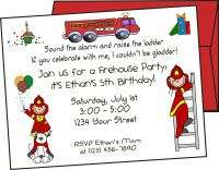 Personalized FIREFIGHTER BIRTHDAY Party INVITATIONS