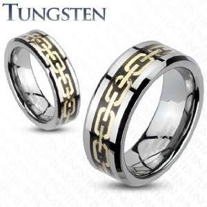 Tungsten Carbide Gold IP Chain Links Design Duo Tone Band Ring   Size