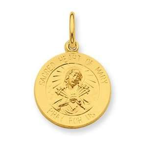Sterling Silver & 24k Gold  plated Sacred Heart of Mary Medal Jewelry