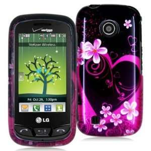LG COSMOS TOUCH VN270 2D PURPLE HEART FLOWERS CASE Cell