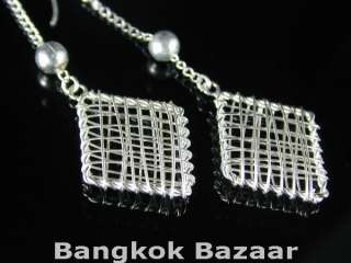 HAND MADE Thai .925 Sterling Silver Wire Wrap Earrings