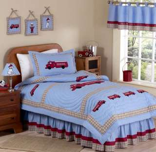 CHEAP RED BLUE FIRE TRUCK CHILDRENS BOY TWIN QUILT BEDDING SET ROOM