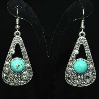Vintage Tibetan Silver Blue Turquoise Earring /w/Box SE031.