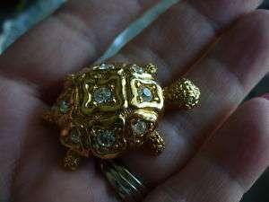 Vintage Signed Swarovski Turtle Pin/Brooch (Swan Mark)