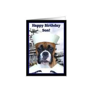 Happy Birthday Son Navy Sailor Boxer Dog Card: Toys