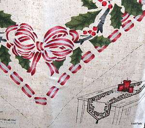 Daisy Kingdom Holly Peppermint Table runner fabric panel mantle scarf