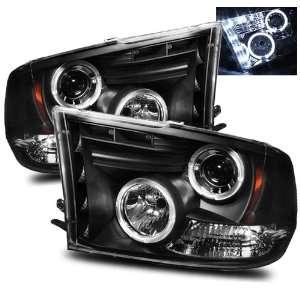 09 10 Dodge Ram 1500 Black LED Halo Projector Headlights Automotive