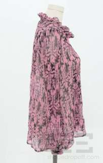Etoile Isabel Marant Pink & Black Silk Print Blouse Size 1