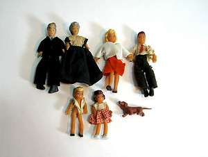 Vintage Dollhouse Family 3 Generations Figures Figurines
