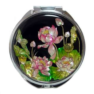 Mother of Pearl Pink Lotus Flower Design Compact Cosmetic Makeup Hand