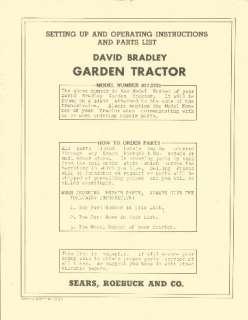 22 DAVID BRADLEY GARDEN TRACTOR MANUALS PARTS SERVICE