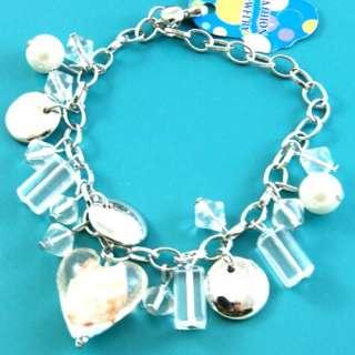 A0276 Charm Lampwork Glass Crystal Heart Beads Bracelet