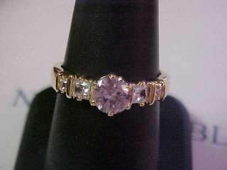 SAPPHIRE CUBIC ZIRCONIA ROUND CUT DESIGNS GOLD PLATED RING s 8