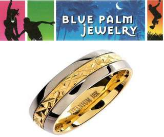 18K Gold Plated Solid Titanium Wedding Ring Band R108