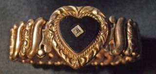 VICTORIAN GOLD FILLED, HEART STRETCH BRACELET, MST C