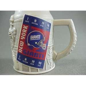 NEW NY New York Giants Sculpted Ceramic Mug Beer Stein 6