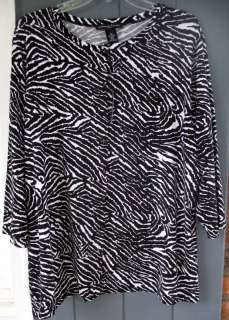 Black White Print Cardigan Top Blouse Sweater 1X 2X NWT
