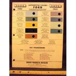1958 FORD Paint Colors Chip Page Ford Motor Company Books