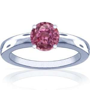 Platinum Round Cut Pink Sapphire Solitaire Ring Jewelry