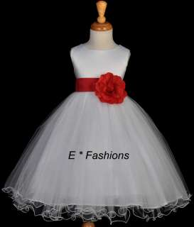 Party Dress on Red Wedding Flower Girls Pageant Party Dress Size 4 5
